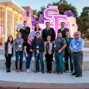 Students and faculty members who attended the 2020 Texas Academy of Science meeting pose for a group photo.